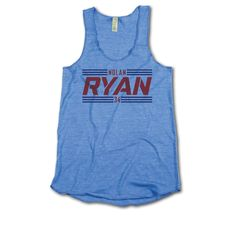 Nolan Ryan Officially Licensed Baseball Hall of Fame Texas Women's Tank Top S-XL Striped Font R