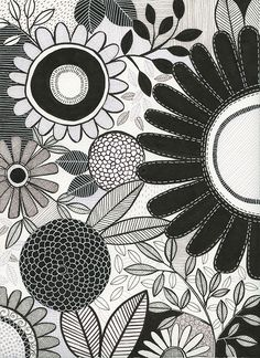 Another botanical favourite from my 2017 FLORA calendar ink This style is more my tendency - quite tight and precise drawing, though… Line Doodles, Flower Doodles, Doodle Drawings, Drawing Sketches, Surface Pattern Design, Pattern Art, Botanical Illustration, Botanical Prints, Susan Black