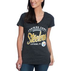 a6a28a461 Pittsburgh Steelers Women s Majestic Training Camp Short Sleeve Football T- Shirt