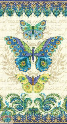 Cross Stitch Kit ~ Dimensions Colorful Trio of Peacock Butterflies #70-35323 #Dimensions
