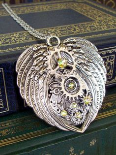 Steampunk Elegant Winged Pendant (N414) - Neckalce or Brooch - Large Wings - Layered Gears - Swarovski Crystals