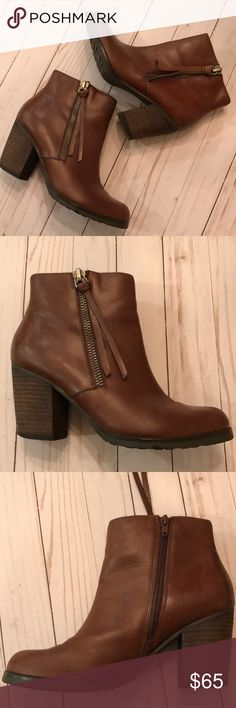 {Marc Fisher} Three Inch Leather Booties 😻 Absolutely stunning booties by Marc Fisher! Pre-owned in great condition! ❤️ Marc Fisher Shoes Ankle Boots & Booties