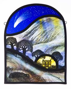 Tamsin Abbott - Night of the Comet 2014 Stained Glass Paint, Stained Glass Designs, Fused Glass Art, Stained Glass Windows, Mosaic Glass, Glass Painting Designs, Paint Designs, Hippie House, Sgraffito