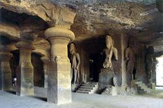 """The Elephanta Caves (known as Gharapurichi Leni) a network of sculpted caves on Elephanta Island, or Gharapuri (literally """"the city of caves"""") in Mumbai Harbour, 10 kilometres mi) to the east of Mumbai in the State of Maharashtra. India Architecture, Ancient Architecture, Ancient Aliens, Ancient Art, Jungle Temple, Sculpture Art, Sculptures, Moorish, Ancient Civilizations"""