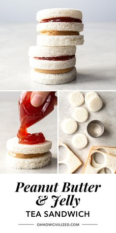 PB&J doesn't have to be basic. Take these simple sandwiches to the next level with a stunning presentation, perfect for you next party or event. Afternoon Tea Recipes, Afternoon Tea Parties, Tea Party Menu, Princess Tea Party, Princess Wedding, Party Finger Foods, Finger Foods For Kids, Tea Sandwiches, Finger Sandwiches
