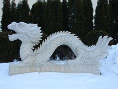 Oriental Dragon Statue in Snow by FantasyStock.deviantart.com on @DeviantArt