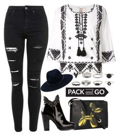 """""""Pack and Go: Mexico City"""" by may-calista ❤ liked on Polyvore featuring Figue, Topshop, rag & bone, H&M, Moschino Cheap & Chic, black, blackandwhite and Packandgo"""