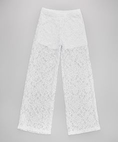 Another great find on #zulily! Cheryl's Kids Creations White Lace Palazzo Pants by Cheryl's Kids Creations #zulilyfinds