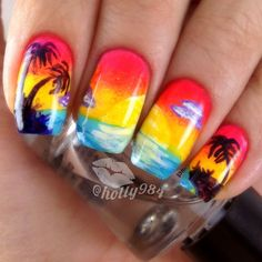 Beach Nails....the only time I would go this extravagantly would be for a wild and crazy beach scene like this....