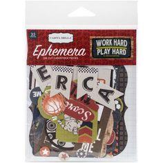 Work Hard Play Hard Ephemera Cardstock Die-Cuts, Multicolor