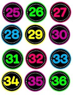 Neon Numbers by Charlotte Owl Classroom, Classroom Decor, Matching Games For Toddlers, Neon Number, Lotto Numbers, Back To School Art, Birthday Cards For Mom, Kids Learning Activities, Math Games
