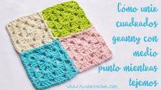 Cómo unir cuadrados granny con medio punto mientras tejemos Joining Granny Squares, Crochet Granny, Crochet Patterns, Blanket, Knitting, Lana, Blog, Irene, Crocheting