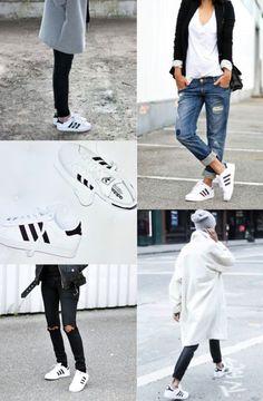 White/Black Leather Adidas Inspiration
