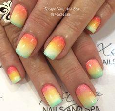 Acrylic nails with Rasta design