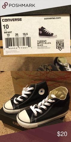 Baby size 10 black high tops New in box Converse Shoes Sneakers