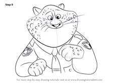 Step by Step How to Draw Benjamin Clawhauser from Zootopia : DrawingTutorials101.com