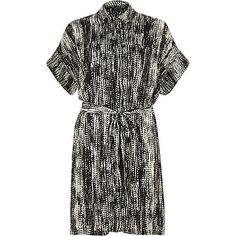 Black print satin crepe shirt dress £45 #riverisland