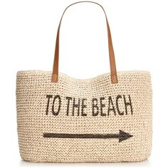 Style & Co. Beach Straw Tote, ($50) ❤ liked on Polyvore featuring bags, handbags, tote bags, beach, bolsas, totes, accessories, straw tote handbags, white tote bag and beach tote bags