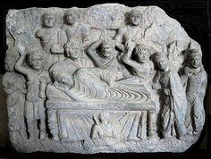The life and death of the Buddha, frieze from Gandhara, Pakistan: d) death at Kushinagara.
