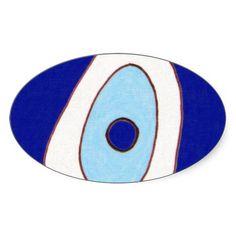 Trendy Oriental Vintage Patterns Oval Stickers