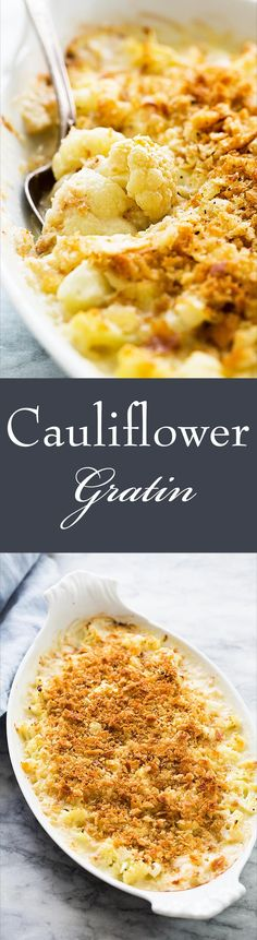 Gratin ~ Cheesy cauliflower gratin with nutty Gruyere cheese, sautéed leeks, and butter toasted breadcrumb topping! Simply Recipes, Side Dish Recipes, Veggie Recipes, Low Carb Recipes, Vegetarian Recipes, Cooking Recipes, Side Dishes, Cauliflower Gratin, Cheesy Cauliflower