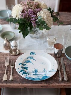"""Hello, mom and Becca...these plates are """"musical monkey"""" delftware! Easter table setting with Gwyneth Paltrow!"""