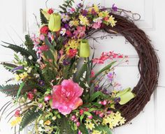 CLICK HERE FOR MORE WREATH IDEAS:  Pink Lime Green Grapevine Wreath Easter by PataylaFloralDesigns, $75.00