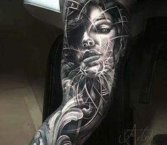 Face tattoo by Arlo Tattoos Awesome black and grey realistic tattoo style of face motive done by artist Arlo DiCristina Tattoos Nape Tattoo, Leg Tattoos, Body Art Tattoos, Tattoos For Guys, Sleeve Tattoos, Tattoos For Women, Tattos, Arlo Tattoo, Tattoo Gesicht