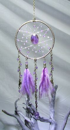 Amethyst Crystal Dreamcatcher Wall Hanging Amethyst Pendulum Amethyst Beads Brass Purple Bedroom Decor Protection Amulet Chakra Dreamcatcher by TigerEmporium on Etsy