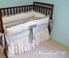 Ivory Lace and Gray Baby Crib Bedding  Ivory by WHIMSICALandWITTY, $395.00