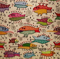 Whimsical embroidered fish - Ivan Semesyuk