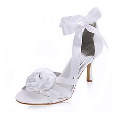 Satin Stiletto Heel Sandals With Satin Flower Wedding / Party Evening Shoes (More Colors Available) – USD $ 69.99
