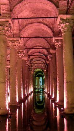 "The Basilica Cistern (Turkish: Yerebatan Sarayı - ""Sunken Palace"", or Yerebatan Sarnıcı - ""Sunken Cistern"")"