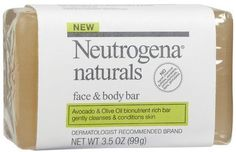 Neutrogena Naturals Face & Body Bar-3.5 oz (Pack of 5) by Neutrogena. $21.66. This avocado and olive oil bionutrient rich bar nourishes skin.. Neutrogena naturals face and body bar gently cleanses, conditions and softens your skin without overdrying.. Avocado and olive oil bionutrient rich bar gently cleanses and conditions skin.. Fragrance free.. This product was not tested on animals.. Avocado and olive oil bionutrient rich bar gently cleanses and conditions skin. Ne...