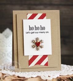 Paper Smooches has a new stamp set that includes this fun sentiment - Let's get our merry on.  Simple kraft paper and candy cane stripes are perfect for this less-is-more DIY Christmas card.