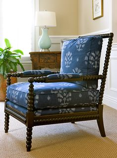 Ikat Occasional Chair, Custom Upholstery by Blackband Design, Spool Chair.  I need a couple of these chairs!