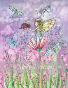 Fairy Print - Little Fairy with Ladybug and Butterflies by Molly Harrison 8 x 10 on Etsy, $14.00