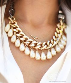 Love the delicate angled initial necklace paired with the chunky statement piece! Wunderbar!