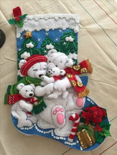 Baby Stocking, Christmas Stocking Kits, Felt Christmas Stockings, Christmas Wreaths, Christmas Crafts, Christmas Decorations, Christmas Ornaments, Merry Christmas And Happy New Year, Christmas Time