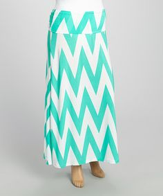 This Mint & White Zigzag Fold-Over Maxi Skirt - Plus by MOA Collection is perfect! #zulilyfinds