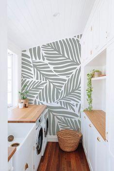 Modern Wallpaper, Accent Wallpaper, Leaves Wallpaper, Home Wallpaper, Apartment Wallpaper, Custom Wallpaper, Laundry Room Wallpaper, Kitchen Wallpaper Vinyl, Home Interior
