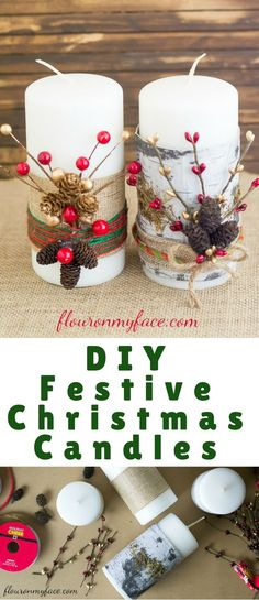 Making DIY Christmas decorations is so much fun. If you are looking for some easy Christmas Candle Decorating Ideas you can brighten up a mantle or a Christmas display with these DIY Festive Christmas Candles.