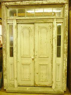 Antique Double Tombstone Door with Sidelights and Transom Window Transom Windows, Doors, Double Entry Doors, Exterior Doors, Garage Studio, Millwork, Glass Panels, Tombstone, Stained Glass Panels