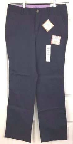 Dockers Cotton Pants Casual Blue Slimming Low Rise Straight Leg Size 8M L32 NWT #DOCKERS #Straight