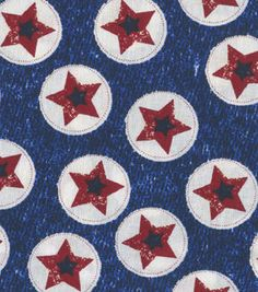 Made in the USA Patriotic Fabric Stars On Denim