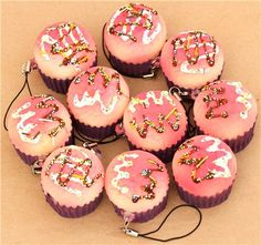 pink muffin squishy cellphone charm
