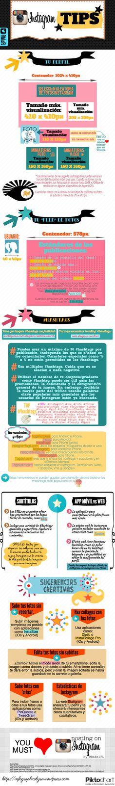 Consejos para Instagram vía: infographicsbyra.wordpress.com #infografia #infographic #socialmedia