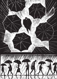 A Novel in Pictures - Eric Drooker Gravure Illustration, Illustration Art, Illustrator, Lino Art, Arte Black, Scratchboard Art, Graphic Novel Art, Linoprint, Linocut Prints