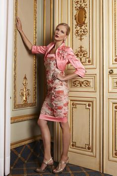 50% Off... Luis Civit, Bolero & Dress X50.S.174, colour: 190 Coral. (Size 8)