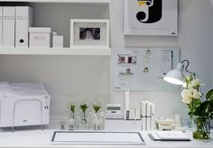 Organized yet gorgeous home office -- love the all white